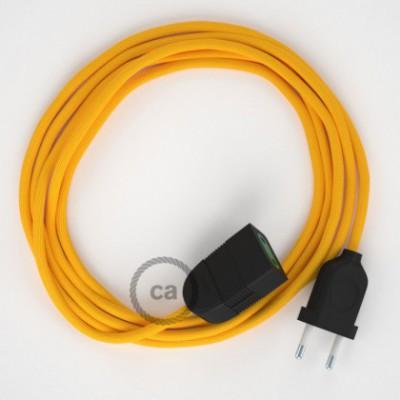 Cabo extensão em Seda Artificial Amarelo RM10 2P 10A. Fabricado em Itália.