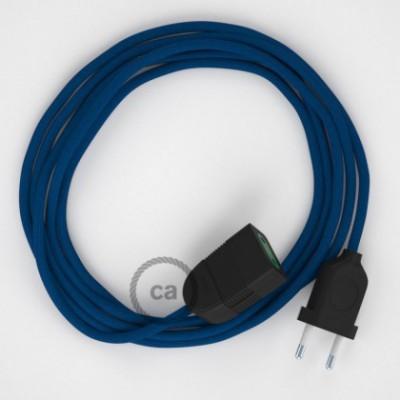 Cabo extensão em Seda Artificial Azul RM12 2P 10A. Fabricado em Itália.