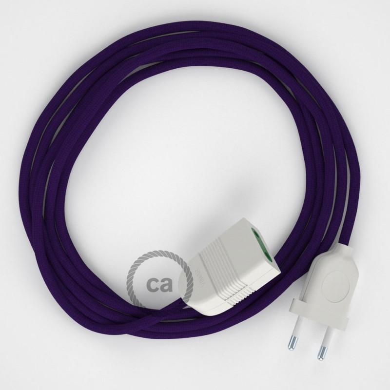 Cabo extensão em Seda Artificial Violeta RM14 2P 10A. Fabricado em Itália.