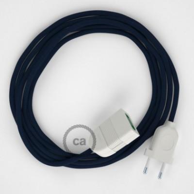 Cabo extensão em Seda Artificial Azul Escuro RM20 2P 10A. Fabricado em Itália.