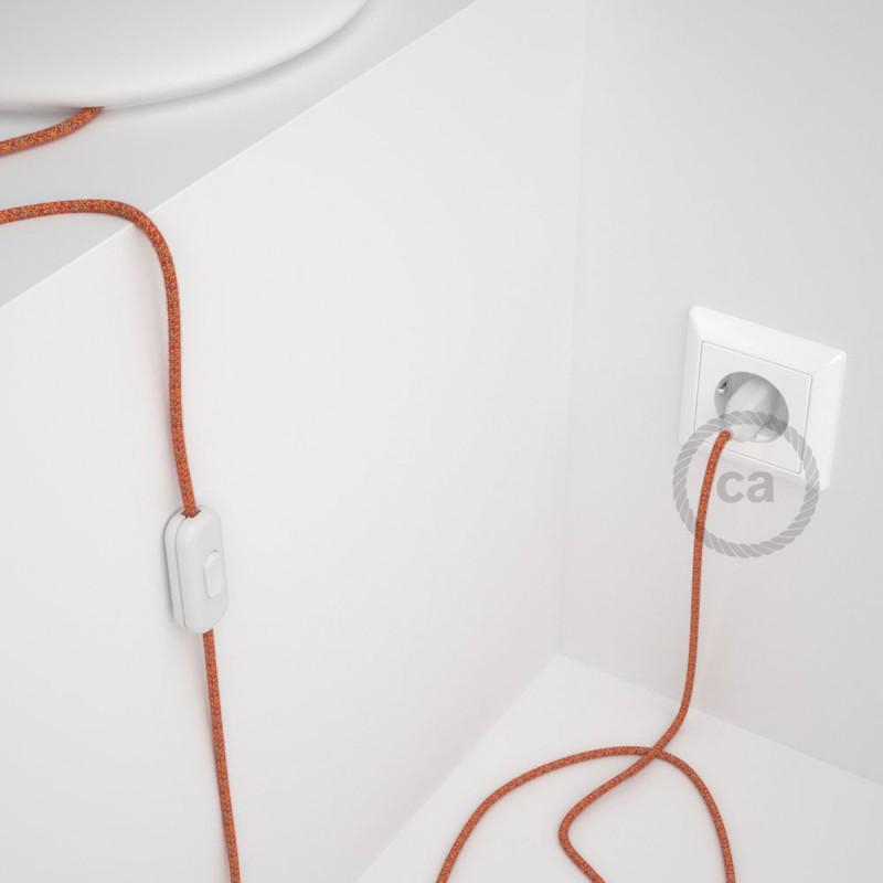 Cabo para candeeiro de mesa, RX07 Indian Summer Algodão 1,80 m. Escolha a cor da ficha e do interruptor.