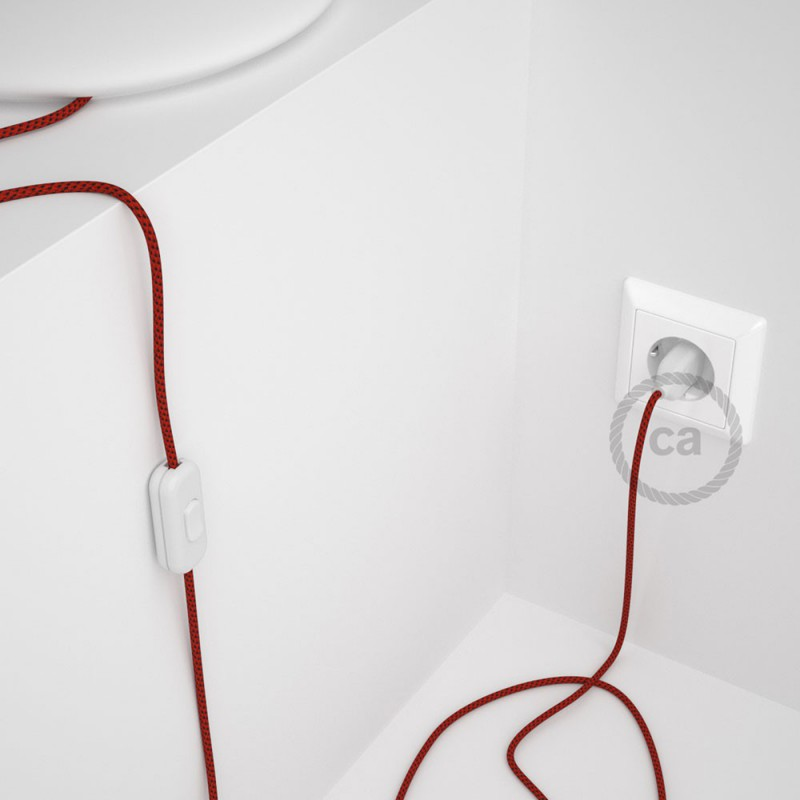Cabo para candeeiro de mesa, RT94 Red Devil Seda Artificial 1,80 m. Escolha a cor da ficha e do interruptor.
