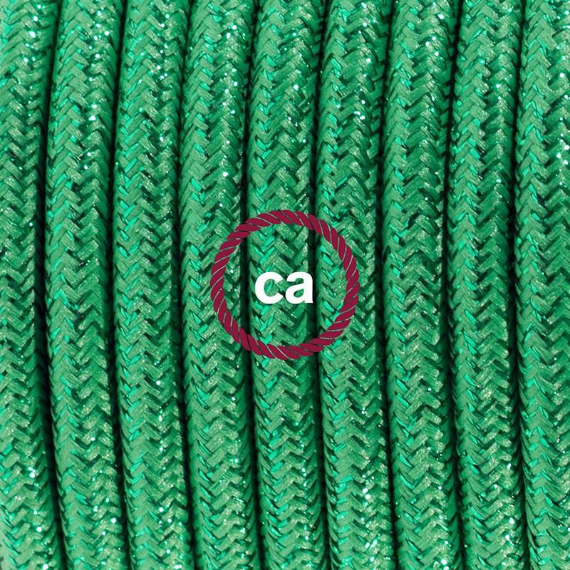 Cabo para candeeiro de mesa, RL06 Verde Seda Artificial 1,80 m. Escolha a cor da ficha e do interruptor.