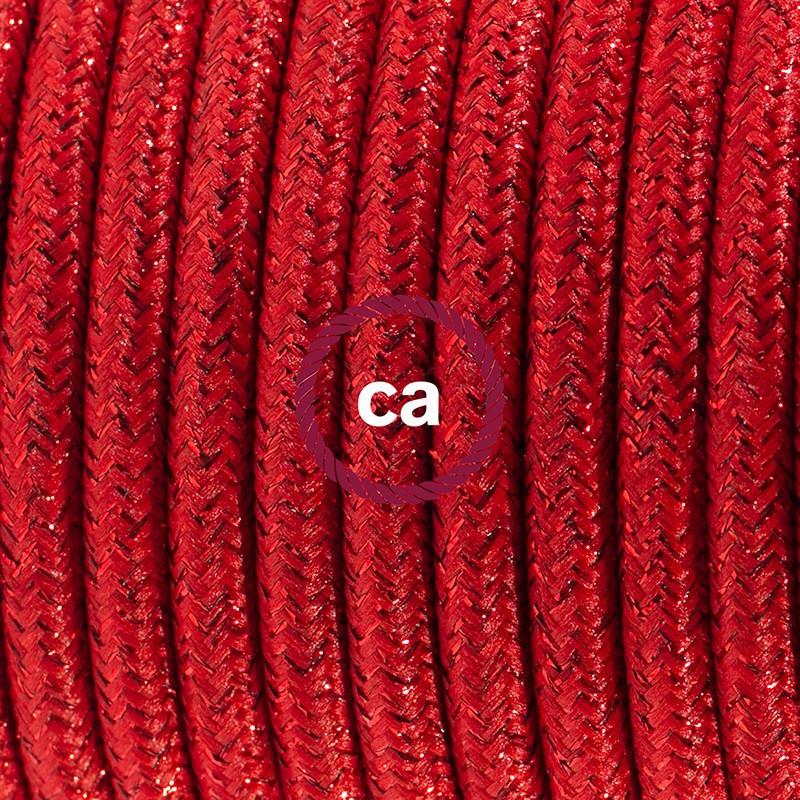Cabo para candeeiro de mesa, RL09 Vermelho Seda Artificial 1,80 m. Escolha a cor da ficha e do interruptor.
