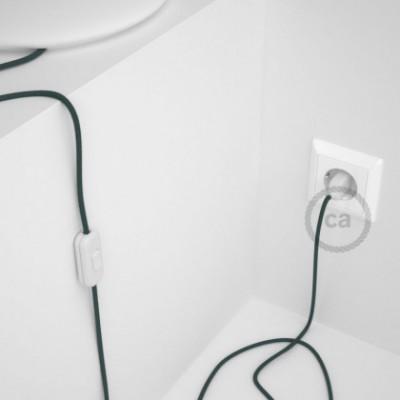 Cabo para candeeiro de mesa, RC30 Pedra Cinza Algodão 1,80 m. Escolha a cor da ficha e do interruptor.