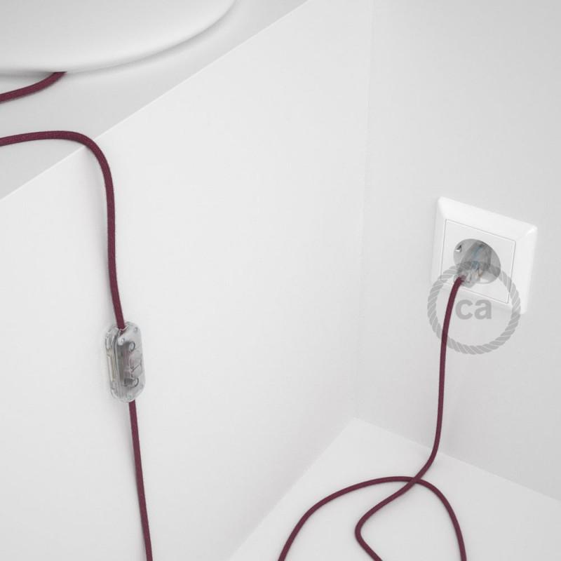 Cabo para candeeiro de mesa, RC32 Bordeaux Algodão 1,80 m. Escolha a cor da ficha e do interruptor.