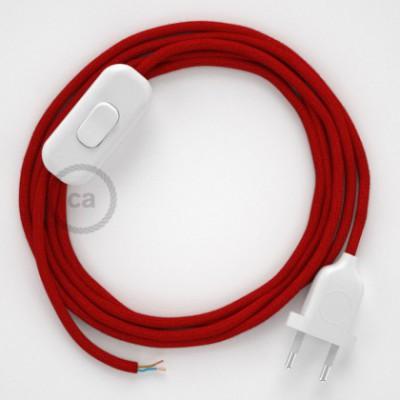Cabo para candeeiro de mesa, RC35 Vermelho Fogo Algodão 1,80 m. Escolha a cor da ficha e do interruptor.
