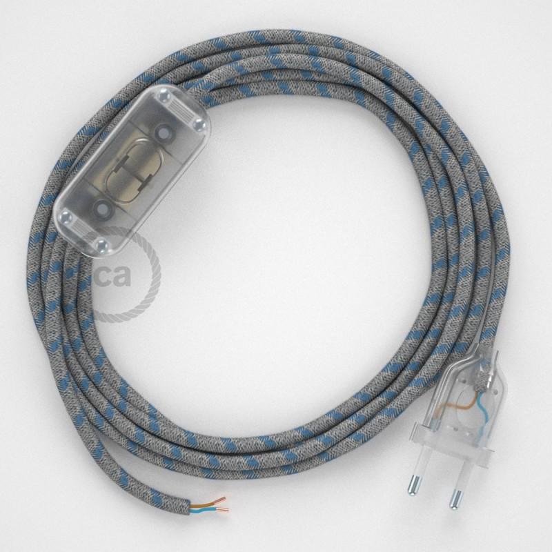 Cabo para candeeiro de mesa, RD55 Riscas Azul Steward Algodão e Linho Natural 1,80 m. Escolha a cor da ficha e do interruptor.