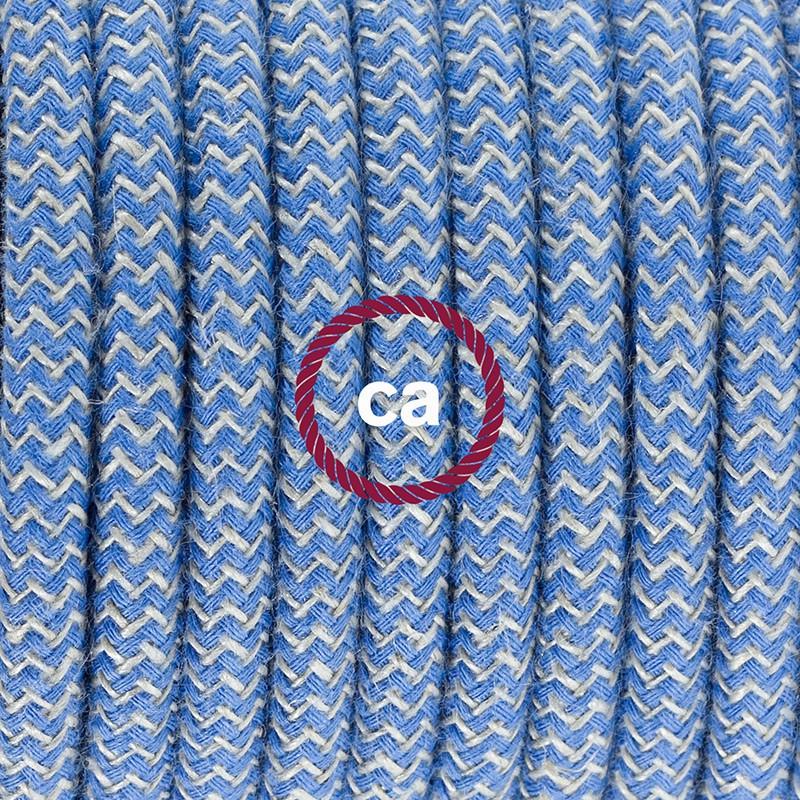Cabo para candeeiro de mesa, RD75 ZigZag Azul Steward Algodão e Linho Natural 1,80 m. Escolha a cor da ficha e do interruptor.