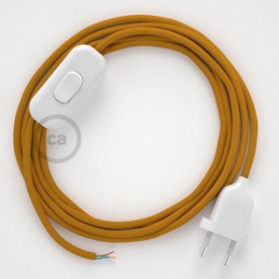 Cabo para candeeiro de mesa, RM25 Mostarda Seda Artificial 1,80 m. Escolha a cor da ficha e do interruptor.