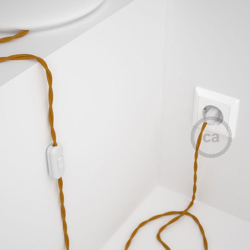 Cabo para candeeiro de mesa, TM25 Mostarda Seda Artificial 1,80 m. Escolha a cor da ficha e do interruptor.