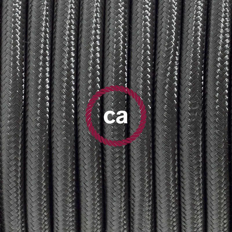 Cabo para candeeiro de mesa, RM26 Cinzento Escuro Seda Artificial 1,80 m. Escolha a cor da ficha e do interruptor.