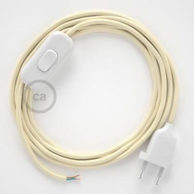 Cabo para candeeiro de mesa, RM00 Marfim Seda Artificial 1,80 m. Escolha a cor da ficha e do interruptor.
