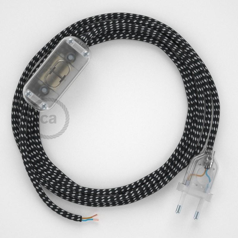 Cabo para candeeiro de mesa, RT41 Stars Seda Artificial 1,80 m. Escolha a cor da ficha e do interruptor.