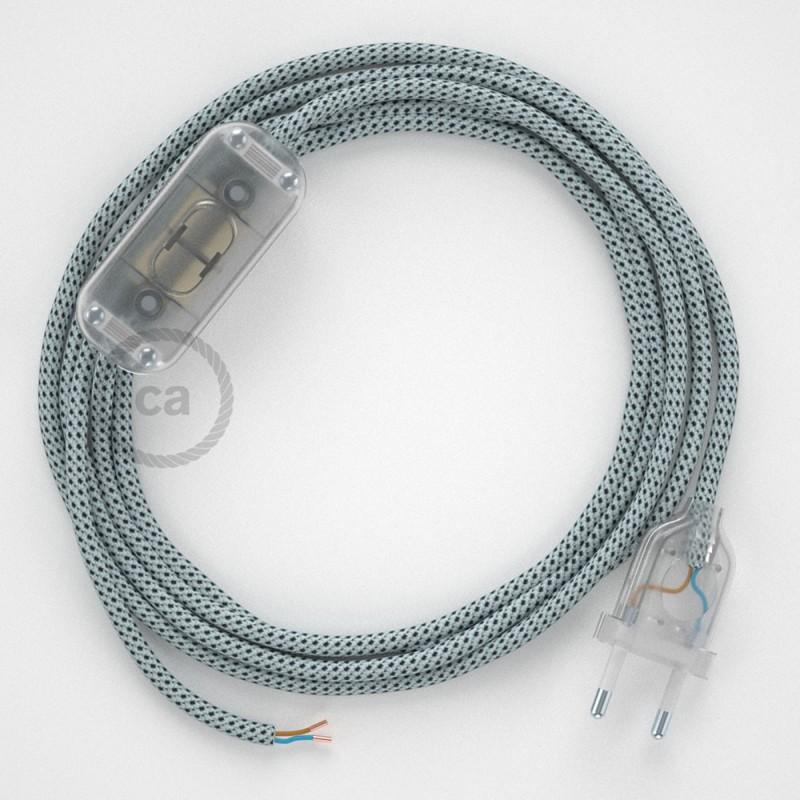 Cabo para candeeiro de mesa, RT14 Stracciatella Seda Artificial 1,80 m. Escolha a cor da ficha e do interruptor.