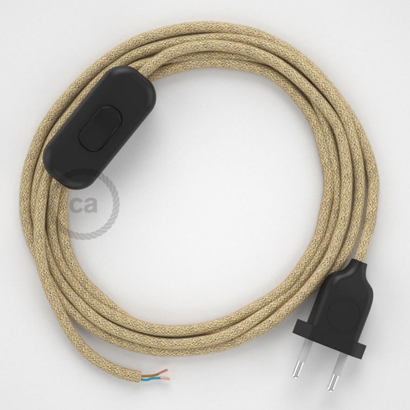 Cabo para candeeiro de mesa, RN06 Juta 1,80 m. Escolha a cor da ficha e do interruptor.