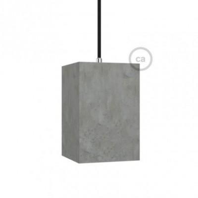 Abajur de cimento Cubo com retentor de cabo e suporte de lâmpada E27