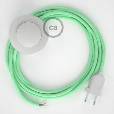 Cabo para candeeiro de chão, RC34 Leite e Menta Algodão 3 m. Escolha a cor da ficha e do interruptor.