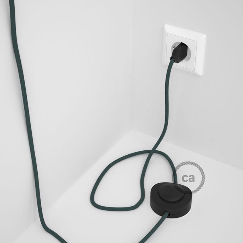 Cabo para candeeiro de chão, RC30 Pedra Cinza Algodão 3 m. Escolha a cor da ficha e do interruptor.