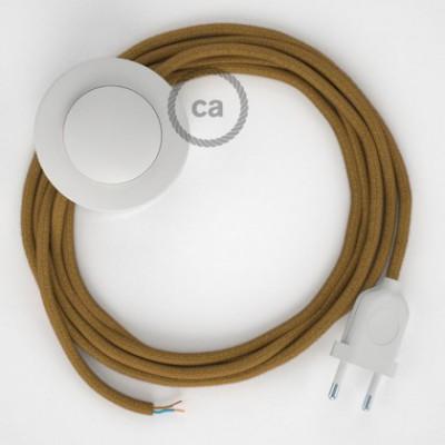 Cabo para candeeiro de chão, RC31 Mel Dourado Algodão 3 m. Escolha a cor da ficha e do interruptor.