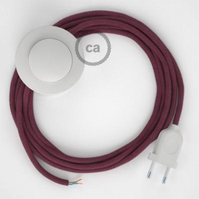 Cabo para candeeiro de chão, RC32 Bordeaux Algodão 3 m. Escolha a cor da ficha e do interruptor.