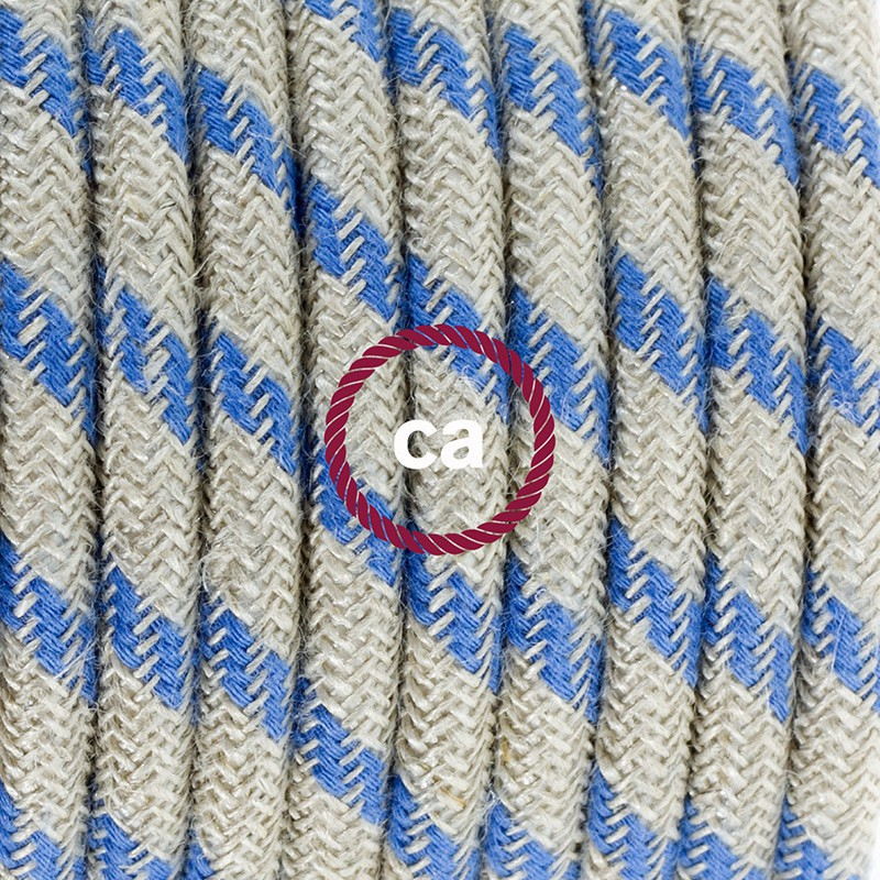 Cabo para candeeiro de chão, RD55 Riscas Azul Steward Algodão e Linho Natural 3 m. Escolha a cor da ficha e do interruptor.