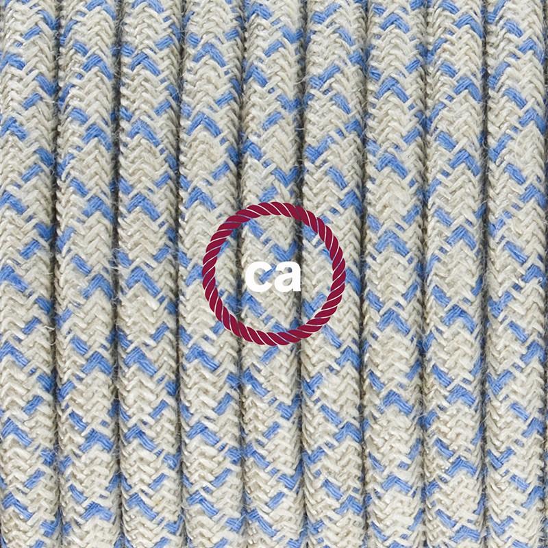Cabo para candeeiro de chão, RD65 Losango Azul Steward Algodão e Linho Natural 3 m. Escolha a cor da ficha e do interruptor.