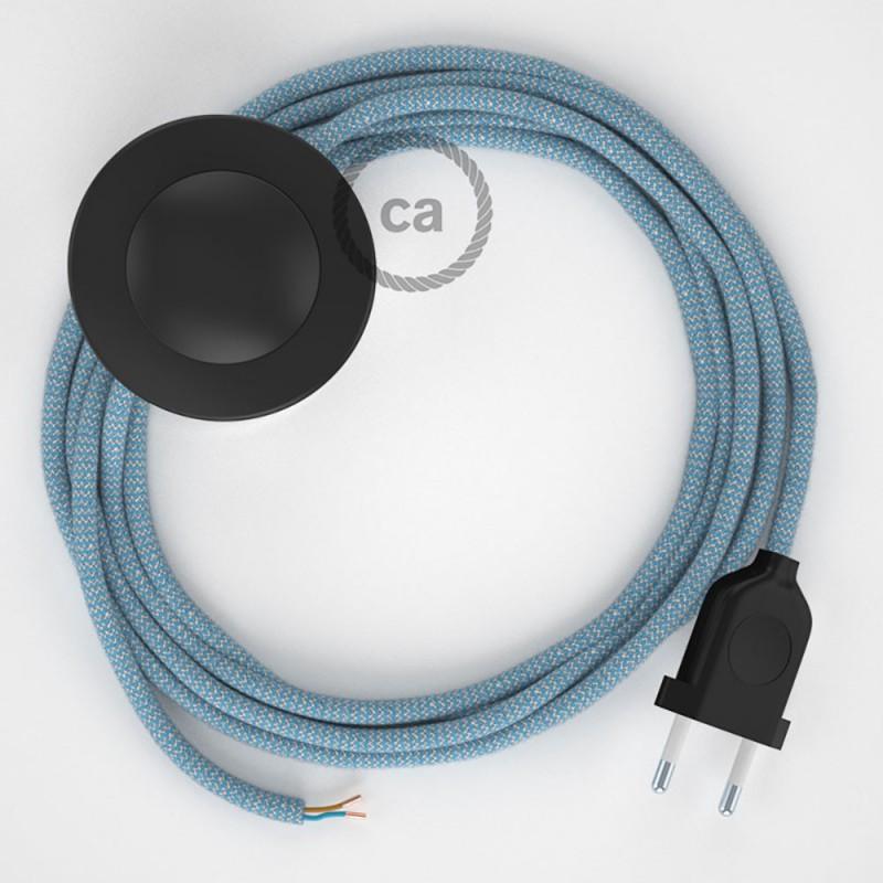 Cabo para candeeiro de chão, RD75 ZigZag Azul Steward Algodão e Linho Natural 3 m. Escolha a cor da ficha e do interruptor.