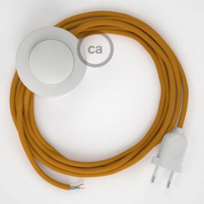 Cabo para candeeiro de chão, RM25 Mostarda Seda Artificial 3 m. Escolha a cor da ficha e do interruptor.