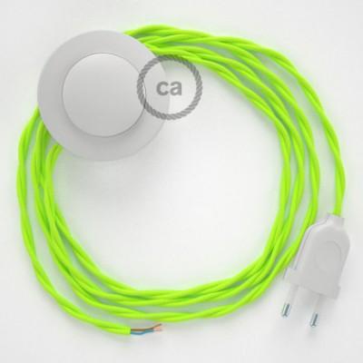 Cabo para candeeiro de chão, TF10 Amarelo Neon Seda Artificial 3 m. Escolha a cor da ficha e do interruptor.