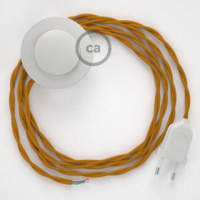 Cabo para candeeiro de chão, TM25 Mostarda Seda Artificial 3 m. Escolha a cor da ficha e do interruptor.