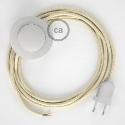 Cabo para candeeiro de chão, RM00 Marfim Seda Artificial 3 m. Escolha a cor da ficha e do interruptor.