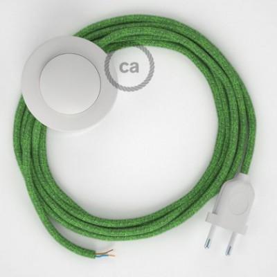 Cabo para candeeiro de chão, RX08 Bronte Algodão 3 m. Escolha a cor da ficha e do interruptor.
