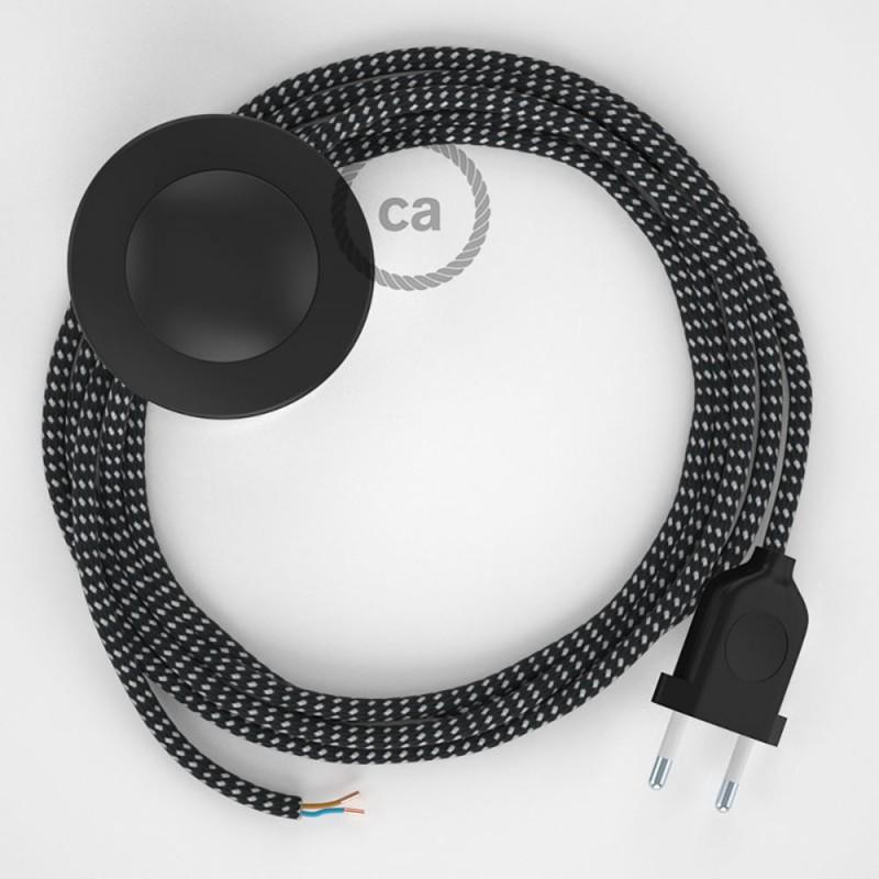 Cabo para candeeiro de chão, RT41 Stars Seda Artificial 3 m. Escolha a cor da ficha e do interruptor.