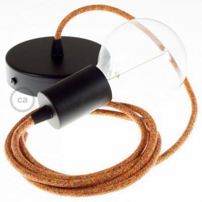 Candeeiro suspenso único, lâmpada suspensa com cabo têxtil em Algodão Indian Summer RX07