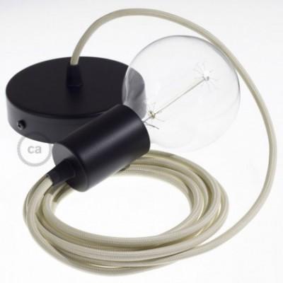 Candeeiro suspenso único, lâmpada suspensa com cabo têxtil em Seda Artificial Marfim RM00