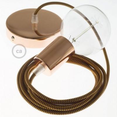 Candeeiro suspenso único, lâmpada suspensa com cabo têxtil em Seda Artificial Dourado e Bordeaux RZ23