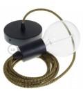 Candeeiro suspenso único, lâmpada suspensa com cabo têxtil em Seda Artificial Dourado e Preto RZ24