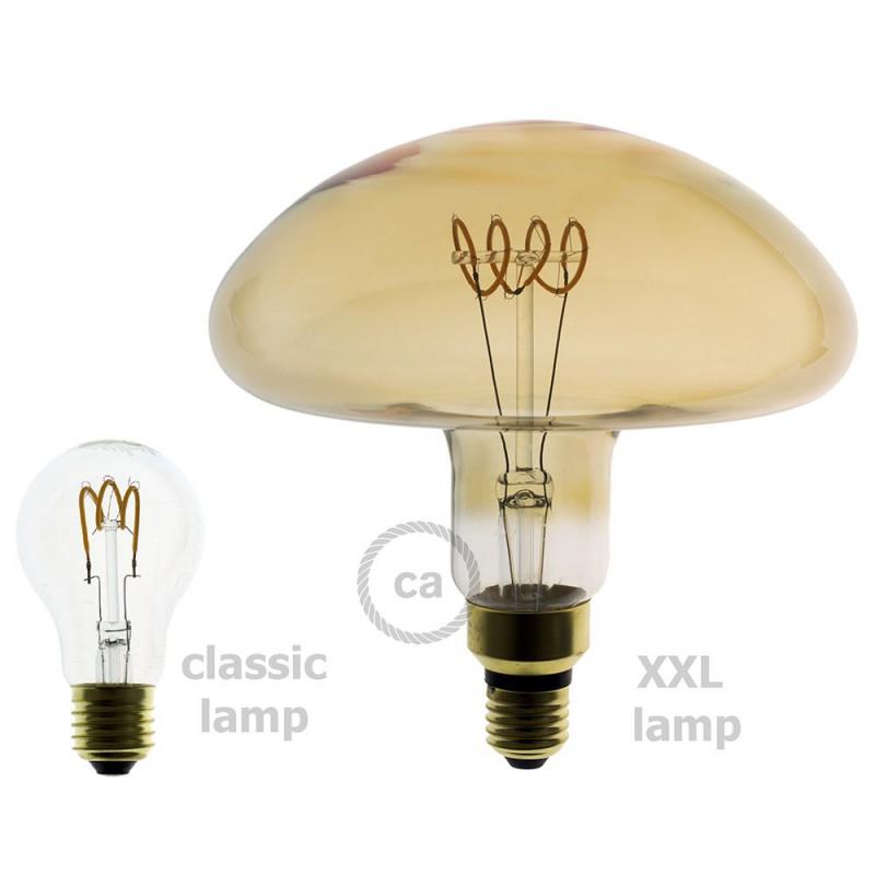 Lâmpada XXL LED Golden - Filamento Espiral Curva Horizontal Cogumelo - 5W E27 Dimável 2000K