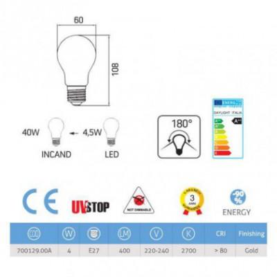 Lâmpada LED E27 Filamento Reflect Gold 4W 2700K