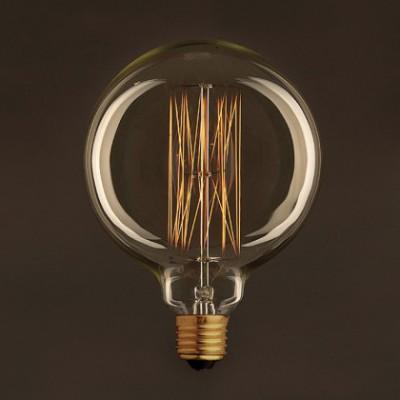 Lâmpada Vintage Dourada Globo G125 Filamento de Carbono tipo Gaiola 25W E27 Dimável 2000K