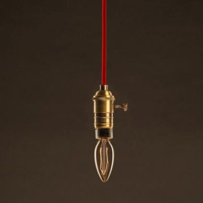 Lâmpada Vintage Dourada Vela C35 Filamento de Carbono ZigZag 30W E27 Dimável 2000K