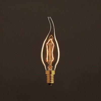 Lâmpada Vintage Dourada Golpe de Vento C35 Filamento de Carbono ZigZag 25W E14 Dimável 2000K