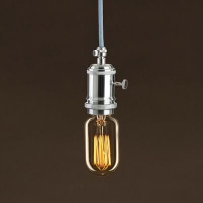 Lâmpada Vintage Dourada Tubular T45 Filamento de Carbono tipo Gaiola 30W E27 Dimável 2000K