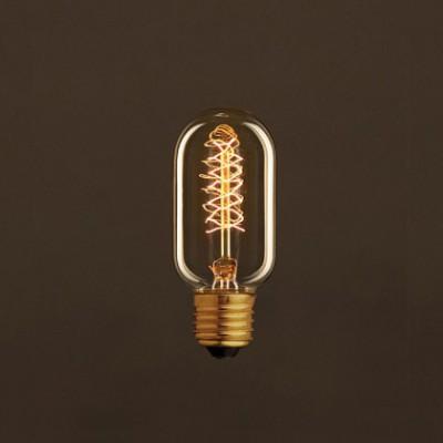 Lâmpada Vintage Dourada Tubular T45 Filamento de Carbono Espiral Duplo Curvo 30W E27 Dimável 2000K