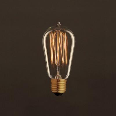 Lâmpada Vintage Dourada Edison ST58 Filamento de Carbono tipo Gaiola 30W E27 Dimável 2000K