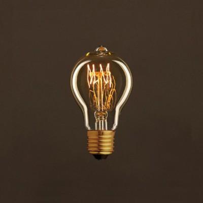 Lâmpada Vintage Dourada Drop A60 Filamento de Carbono Espiral Curvo 30W E27 Dimável 2000K