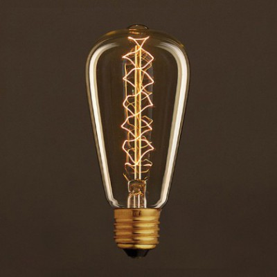 Lâmpada Vintage Dourada Edison ST64 Filamento de Carbono Espiral Duplo Curvo 25W E27 Dimável 2000K