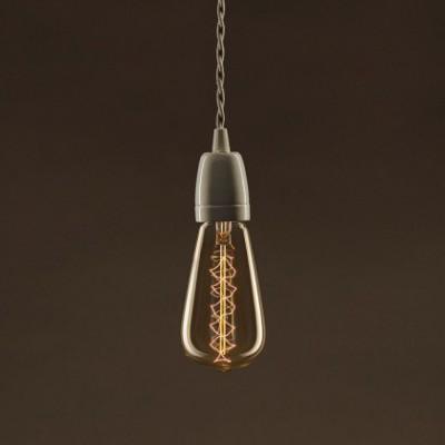 Lâmpada Vintage Dourada Edison ST64 Filamento de Carbono Espiral Duplo Curvo 30W E27 Dimável 2000K