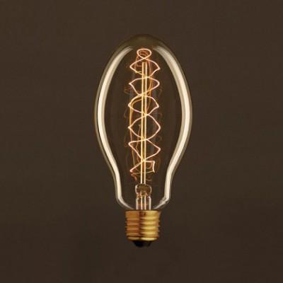 Lâmpada Vintage Dourada Vela E75 Filamento de Carbono Espiral Duplo Curvo 25W E27 Dimável 2000K
